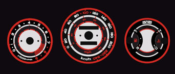 EL Glow Gauge White/Red 3D Type  - Civic 88-91