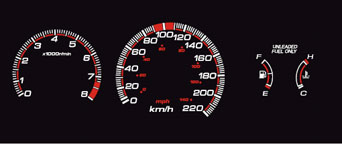 EL Glow Gauge White/Red - Civic 88-91