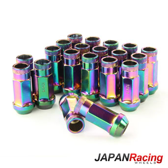 Japan Racing Lug Nuts Forged Steel Long Neo Chrome - M12x1.5 Set of 20pcs