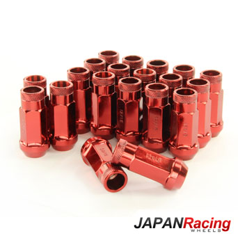 Japan Racing Lug Nuts Forged Steel Long Red - M12x1.5 Set of 20pcs